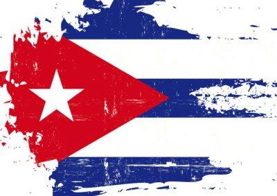 Quadro Bandiera di Cuba graffiato