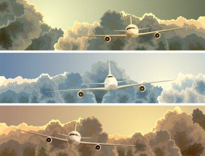 Quadro Banner orizzontale di piano tra le nuvole.