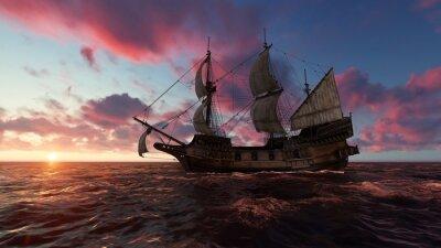 Quadro Barca a vela in mare in serata al tramonto illustrazione 3d