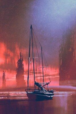 Quadro Barca a vela sulla spiaggia contro edifici abbandonati nel mare al tramonto con stile artistico digitale, pittura illustrazione