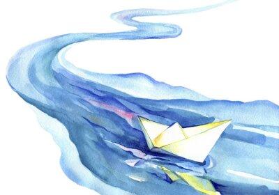 Quadro barca di carta bianca che galleggia nell'acqua. Pittura ad acquerello del fiume e nave su uno sfondo bianco.