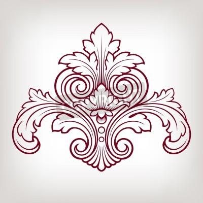 Quadro Barocco elemento vintage pattern cornice floreale incisione stile retrò