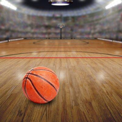 Quadro Basketball Arena con palla sulla corte e copia spazio. Resi in Photoshop.