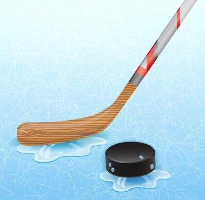 Quadro bastone da hockey e hockey puck. Illustrazione 10 versione.