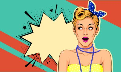 Quadro Beautiful surprised pin up girl vector illustration in pop art style