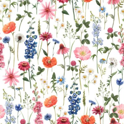 Quadro Beautiful vector floral summer seamless pattern with watercolor hand drawn field wild flowers. Stock illustration.
