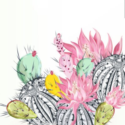 Quadro Beautiful vector illustration with cactus plants and flowers