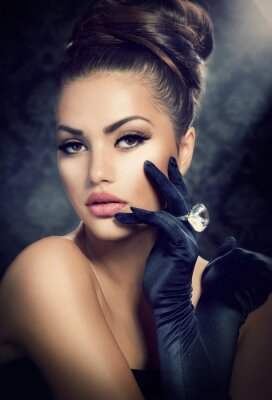 Quadro Beauty Fashion Girl Portrait. Vintage Style ragazza indossa guanti
