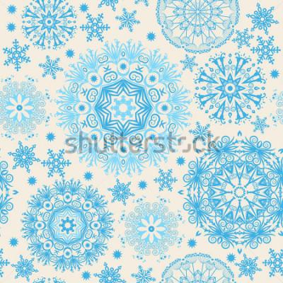 Quadro Bei fiocchi di neve Sfondo astratto senza soluzione di continuità con elementi di tendenza. Modello di vettore per web design, tessile, grafica.
