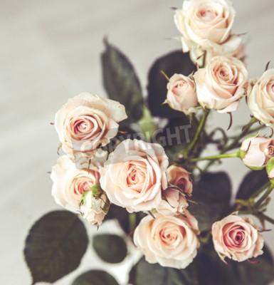 Quadro Bel mazzo di rose di pesco in vaso epoca su un fondo nero