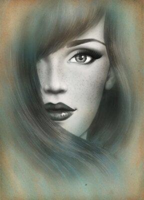 Quadro Bel viso. Ritratto di donna. sfondo acquarello .fashion sfondo