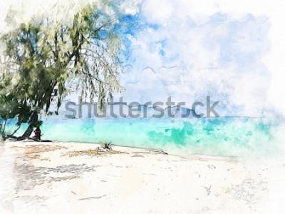 Quadro Bella catena montuosa variopinta astratta ed acqua di mare in Krabi, Tailandia sul fondo della pittura dell'illustrazione dell'acquerello.