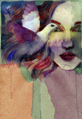 Quadro Bella donna. acquerello illustrazione