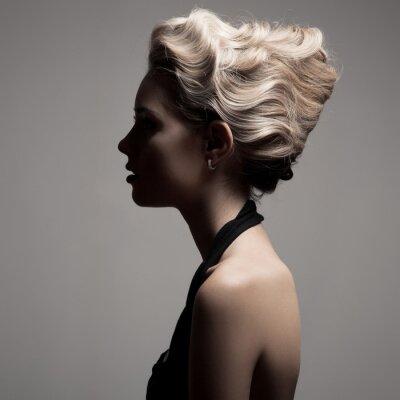 Quadro Bella donna bionda. Retro Fashion immagine.