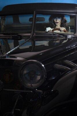 Quadro bella donna in macchina ricchezza