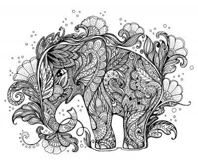 Quadro Bella elefante dipinto a mano con ornamenti floreali