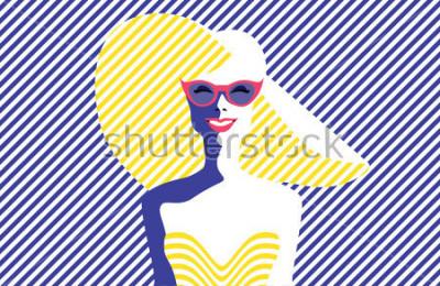 Quadro Bella giovane donna con occhiali da sole e cappello, stile retrò. Pop Art. Vacanze estive. Illustrazione vettoriale eps10
