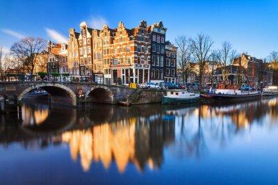 Quadro Bella immagine del patrimonio mondiale dell'UNESCO canali della 'Brouwersgracht' it 'Prinsengracht (canale del Principe)' ad Amsterdam, Paesi Bassi