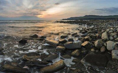 Quadro Bella immagine del tramonto paesaggio della costa rocciosa in Kimmeridg