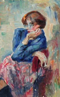 Quadro Bella pittura a olio originale del ritratto di una donna colori brillanti su tela in stile impressionismo