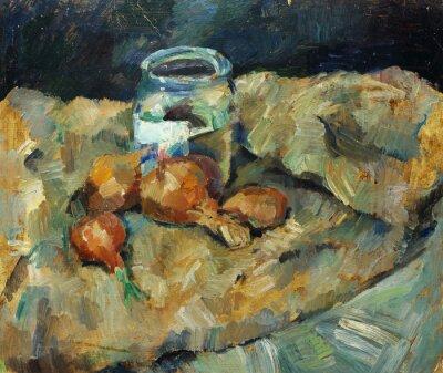 Quadro Bella pittura a olio originale di natura morta ..pot lampadina su tessuti su tela in colori giallo e blu nello stile di impressionismo