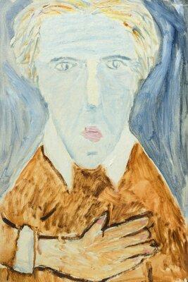 Quadro Bella pittura a olio originale di ritratto di un uomo nei colori arancione e grigio su tela di canapa