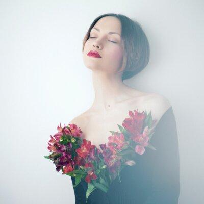 Quadro Bella signora con i fiori