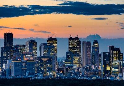 Quadro Bella Silhouette di Tokyo Skyline al crepuscolo
