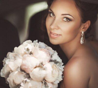 Quadro Bella sposa in giorno delle nozze in abito da sposa. donna sposi