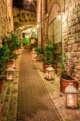 Quadro Bella strada decorata in piccola città in Italia, Umbria