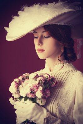 Quadro Belle donne rosse con bouquet