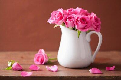 Quadro belle rose rosa mazzo in vaso