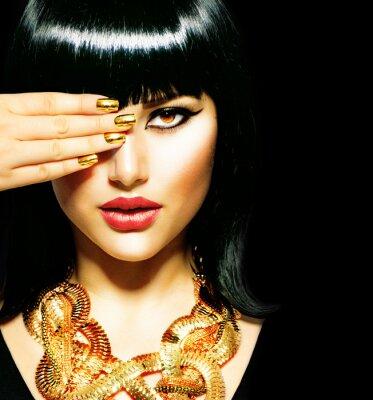 Quadro Bellezza bruna egiziano Woman.Golden Accessori