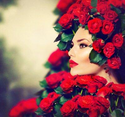 Quadro Bellezza Modella Ritratto della ragazza con rose rosse Hairstyle