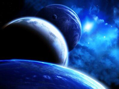 Quadro Bellissimo spazio scena con parata dei pianeti e nebulosa