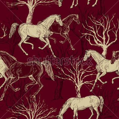 Quadro Bello fondo d'annata con i cavalli e gli alberi, foresta creativa, modello retrò, tessuto di arte, carta da parati di fantasia di fantasia per la decorazione e progettazione