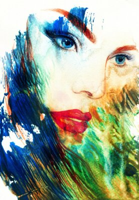 Quadro Bello fronte della donna. acquarello astratto di illustrazione di moda