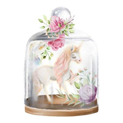 Quadro Bello, unicorno, cavallo magico e fiori in un barattolo di vetro. Illustrazione dell'acquerello di fantasia isolata su bianco