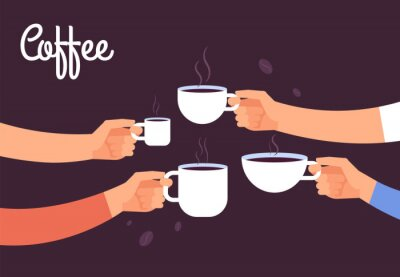 Quadro Bere il concetto di caffè. Gli amici bevono caffè a colazione. Rompa in ufficio con il concetto di vettore di caffè espresso. Illustrazione della bevanda del caffè, mattina della prima colazione del c