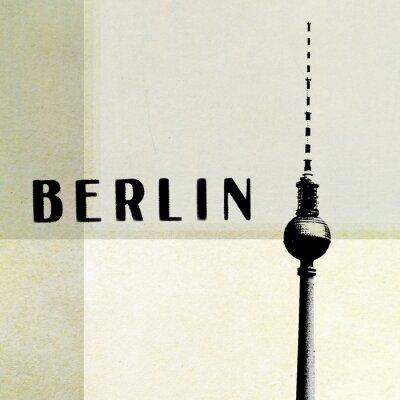 Quadro Berlino Cartolina - Torre della TV e le lettere su backg astratto