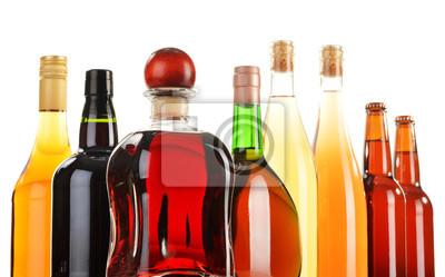 Quadro Bevande alcoliche assortiti isolato su bianco