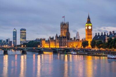 Quadro Big Ben e Westminster Bridge al crepuscolo, Londra, Regno Unito