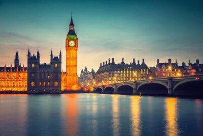 Quadro Big Ben e Westminster Bridge al tramonto a Londra