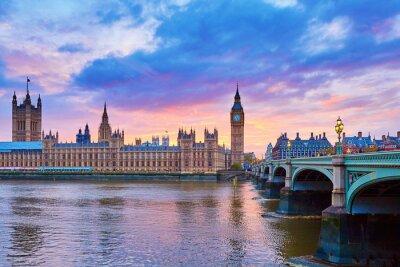 Quadro Big Ben e Westminster Bridge con Thames river