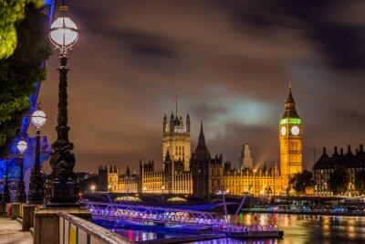 Quadro Big Ben e Westminster Bridge di notte, Londra, Regno Unito