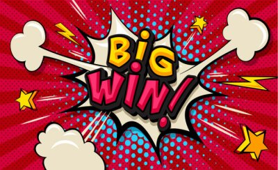 Quadro Big Win! Pop art cloud bubble. Funny speech shopping sale icon bubble. Trendy Colorful retro vintage comic background in pop art retro comic style. Illustration easy editable for Your design.