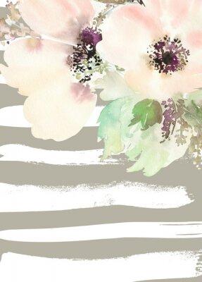 Quadro Biglietto di auguri con i fiori. Colori pastello. Fatto a mano. pittura ad acquerello. Matrimonio, compleanno, festa della mamma. addio al nubilato.
