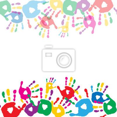062b37da4d Quadro: Biglietto di auguri con stampe colorate di mani dei bambini