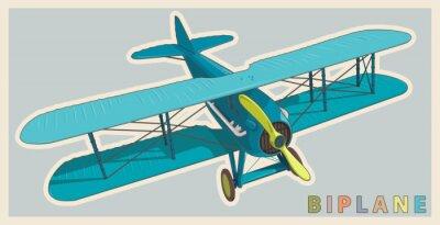 Quadro biplano blu in stilizzazione epoca e colore. elica aeromobili con due ali. retrò aereo Vecchio progettata per la stampa di poster. Splendidamente e realisticamente disegnato vettore in volo biplano.