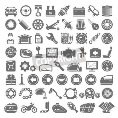 Quadro Black Icons - auto e moto parti